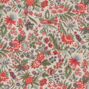 Moda Quill by 3 Sisters - 5601 - Flourish, Coral Floral on Pale Beige - 44153 11 - Cotton Fabric